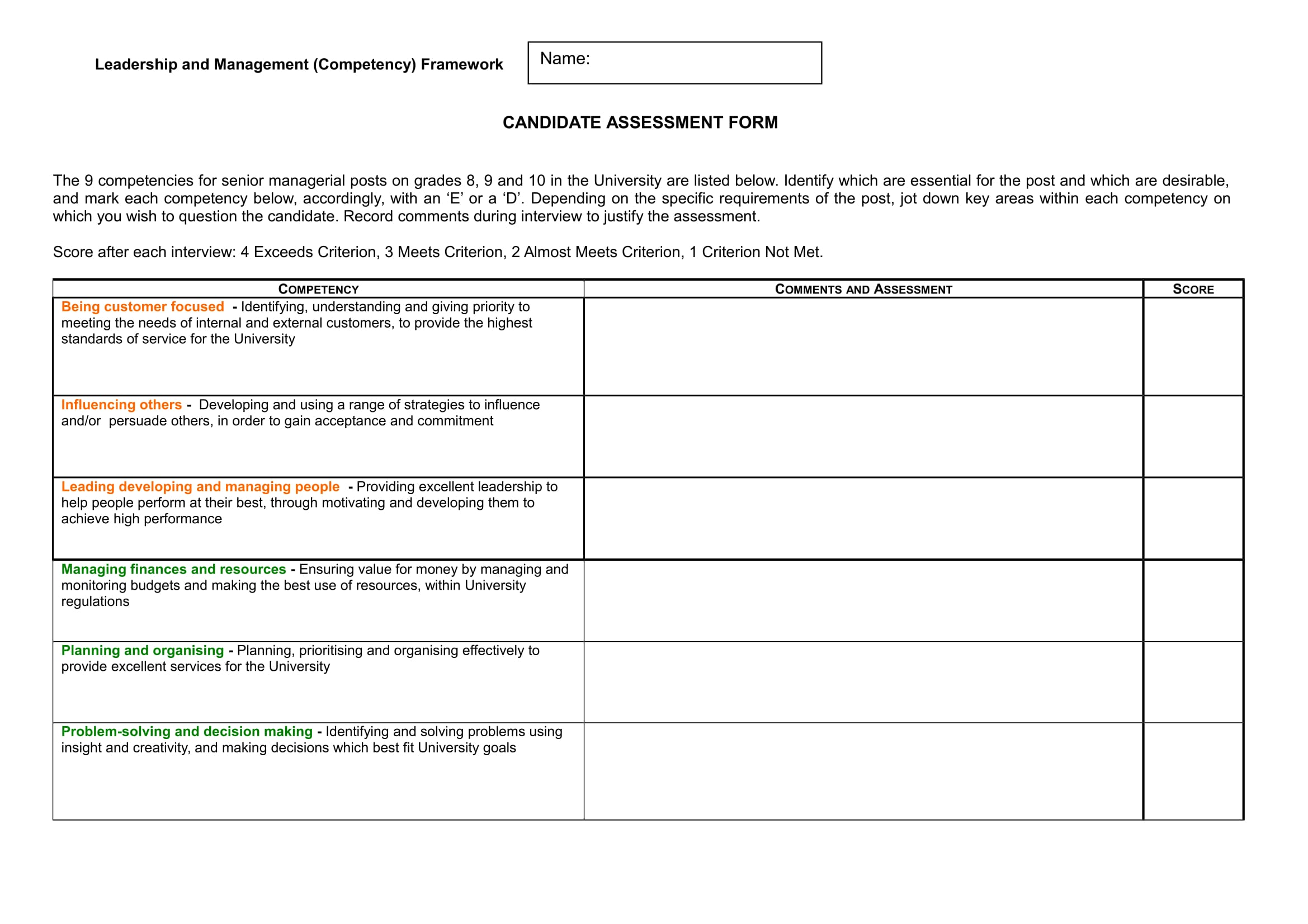 candidate assessment form example 1