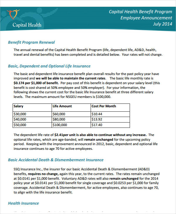 capital health benefit program employee announcement