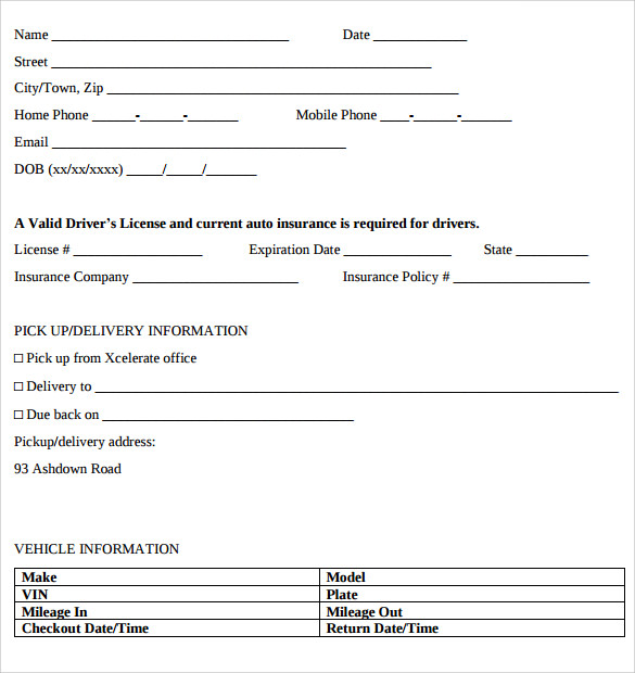 car lease template