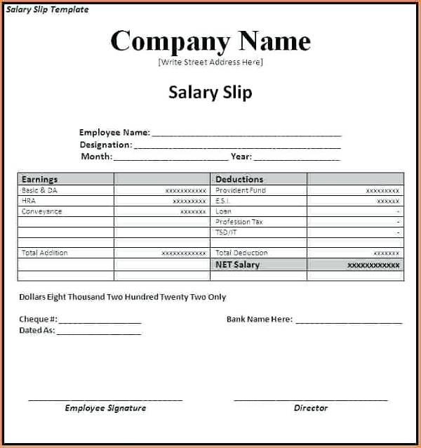 cash salary slip template example1