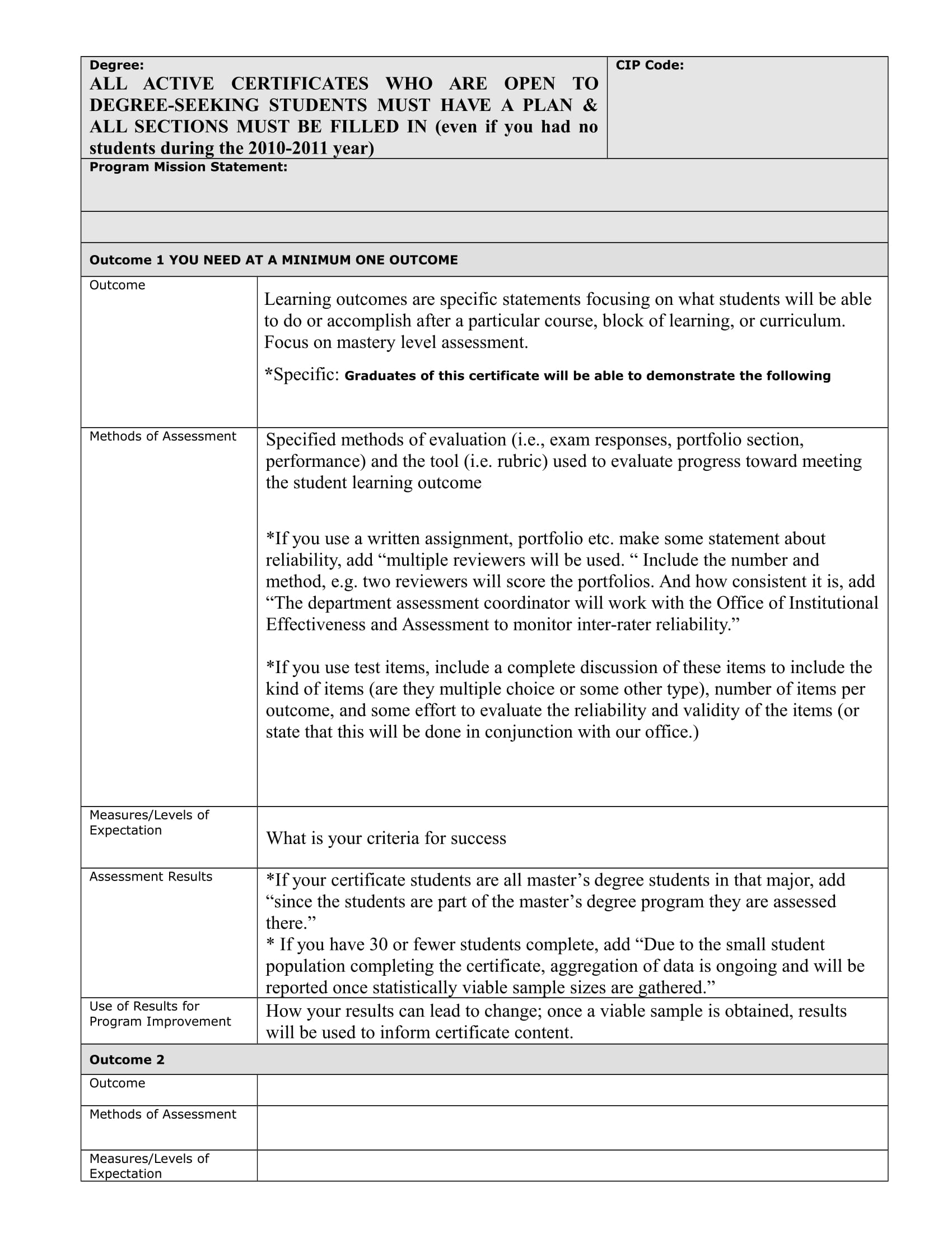 certification program assessment plan template example 2