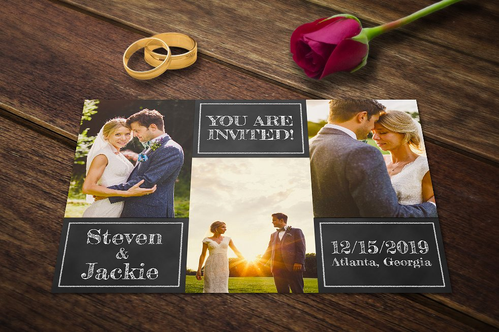 chalk wedding announcement card example
