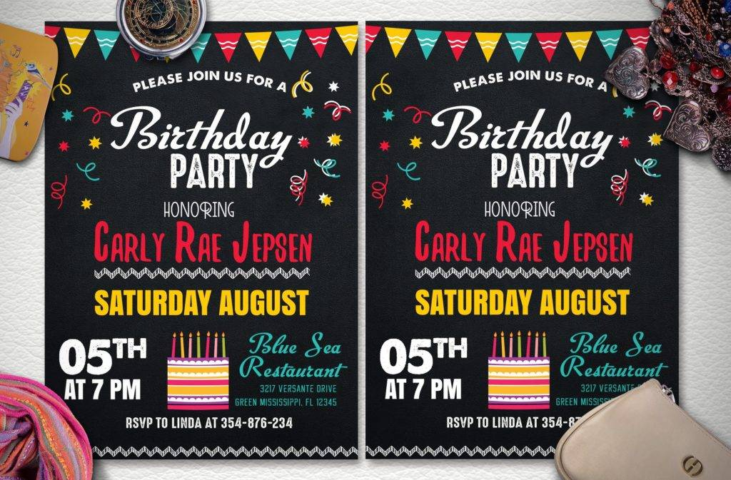 chalkstyle birthday party announcement flyer example