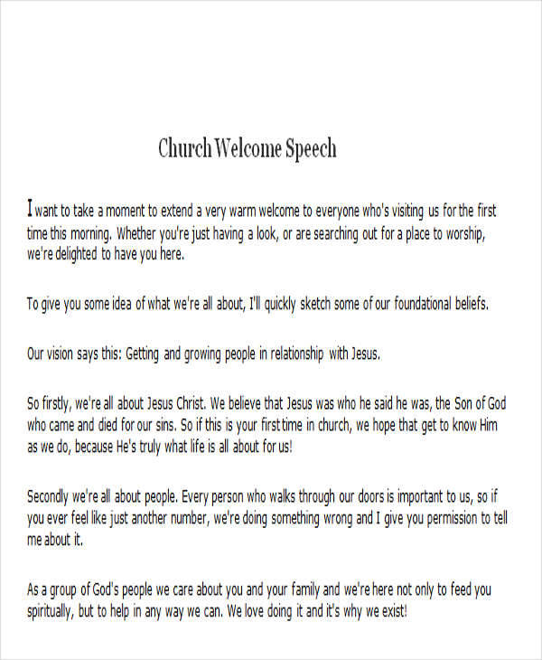 9  church welcome speech examples