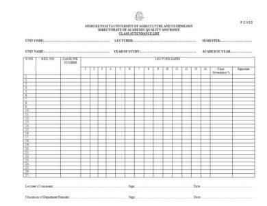 class attendance list example1