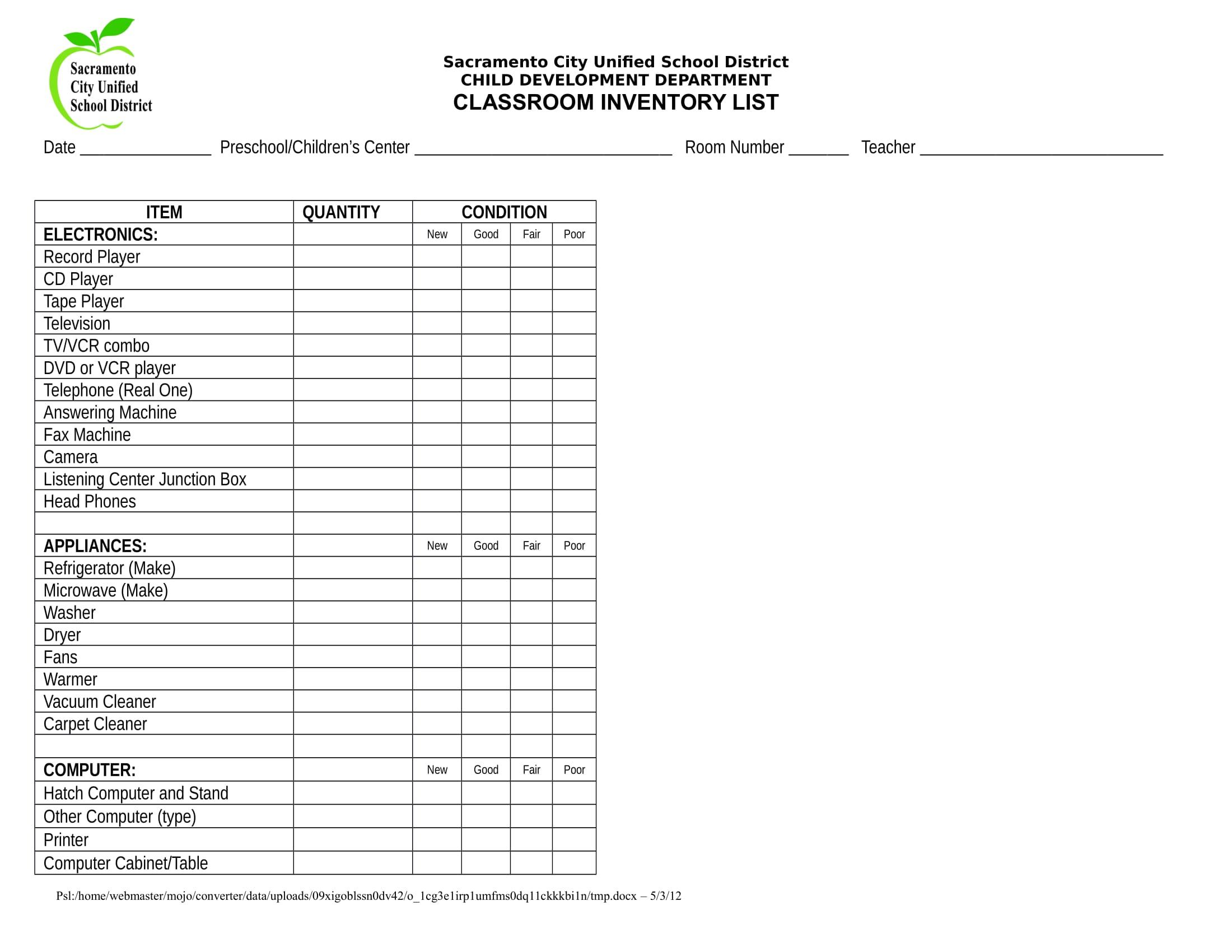 classroom inventory list example