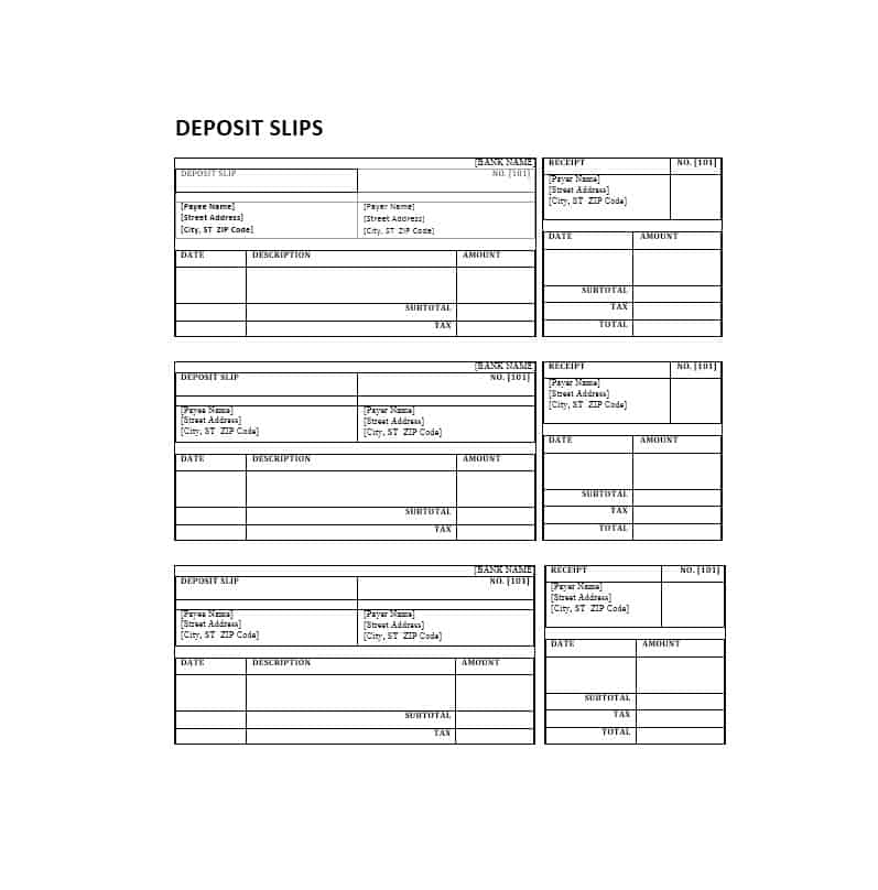 clean deposit slip example
