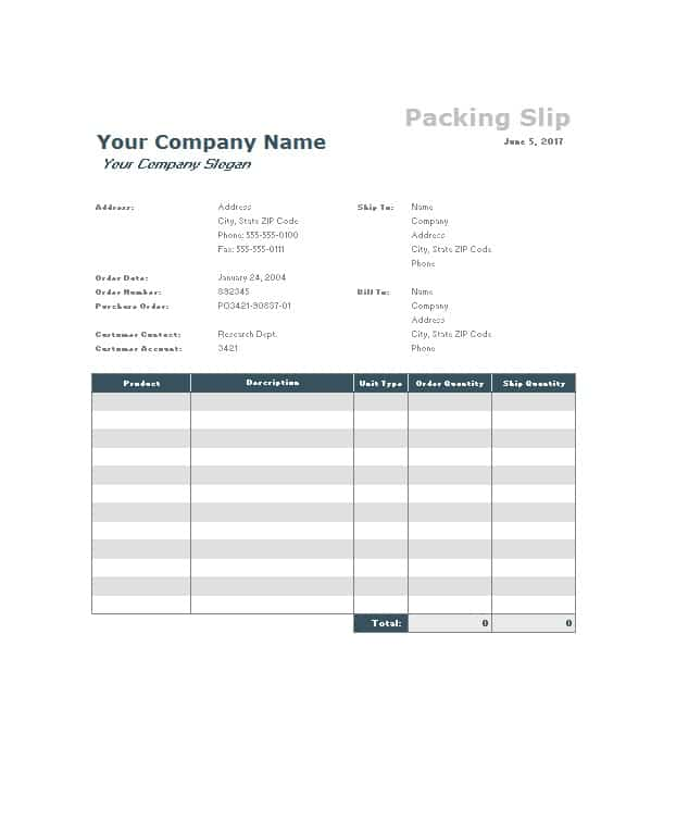 clean packing slip example