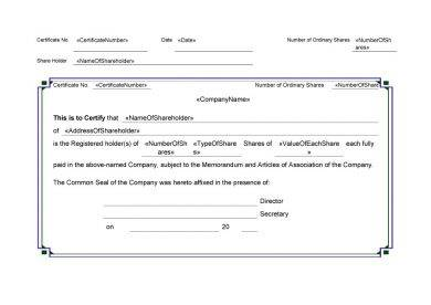 clean share certificate example1