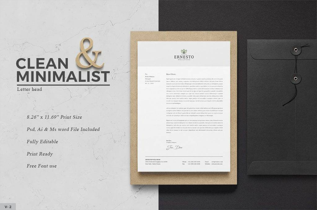 clean and minimalist company letterhead example