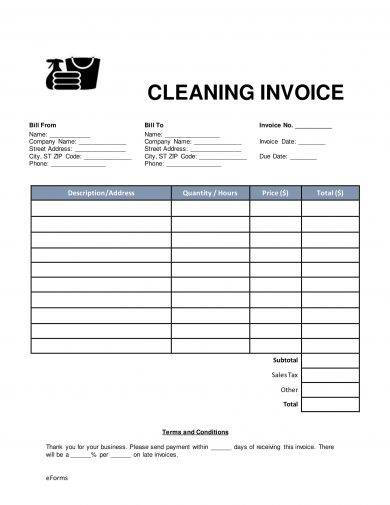 cleaning service invoice example1