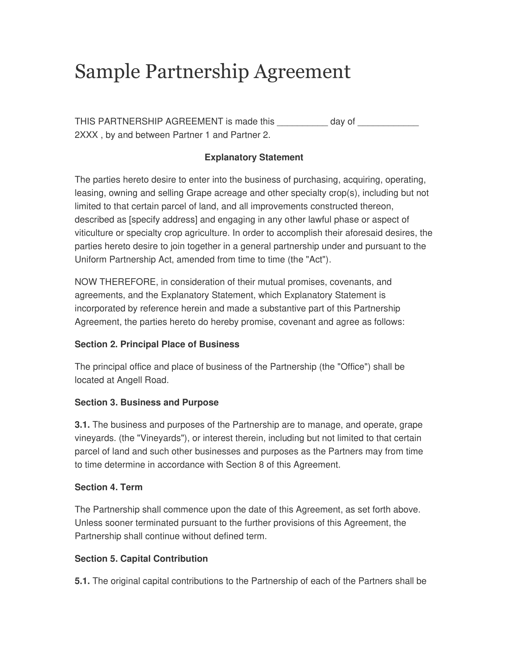 clear partnership agreement example
