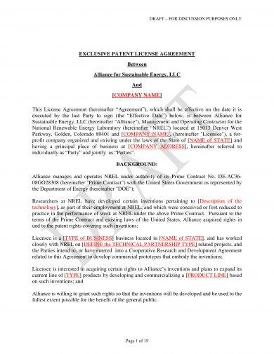 clear patent license agreement example1