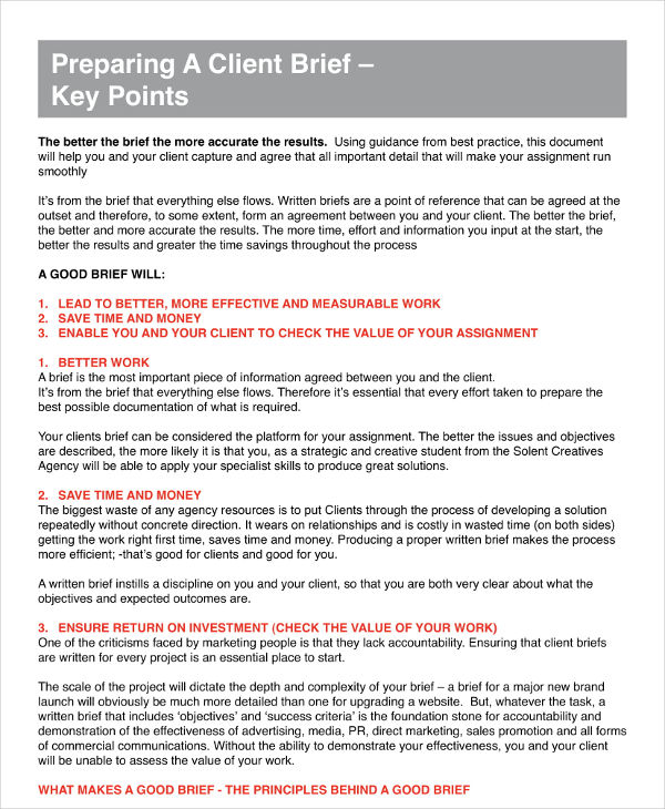 Client Brief Key Points And Example