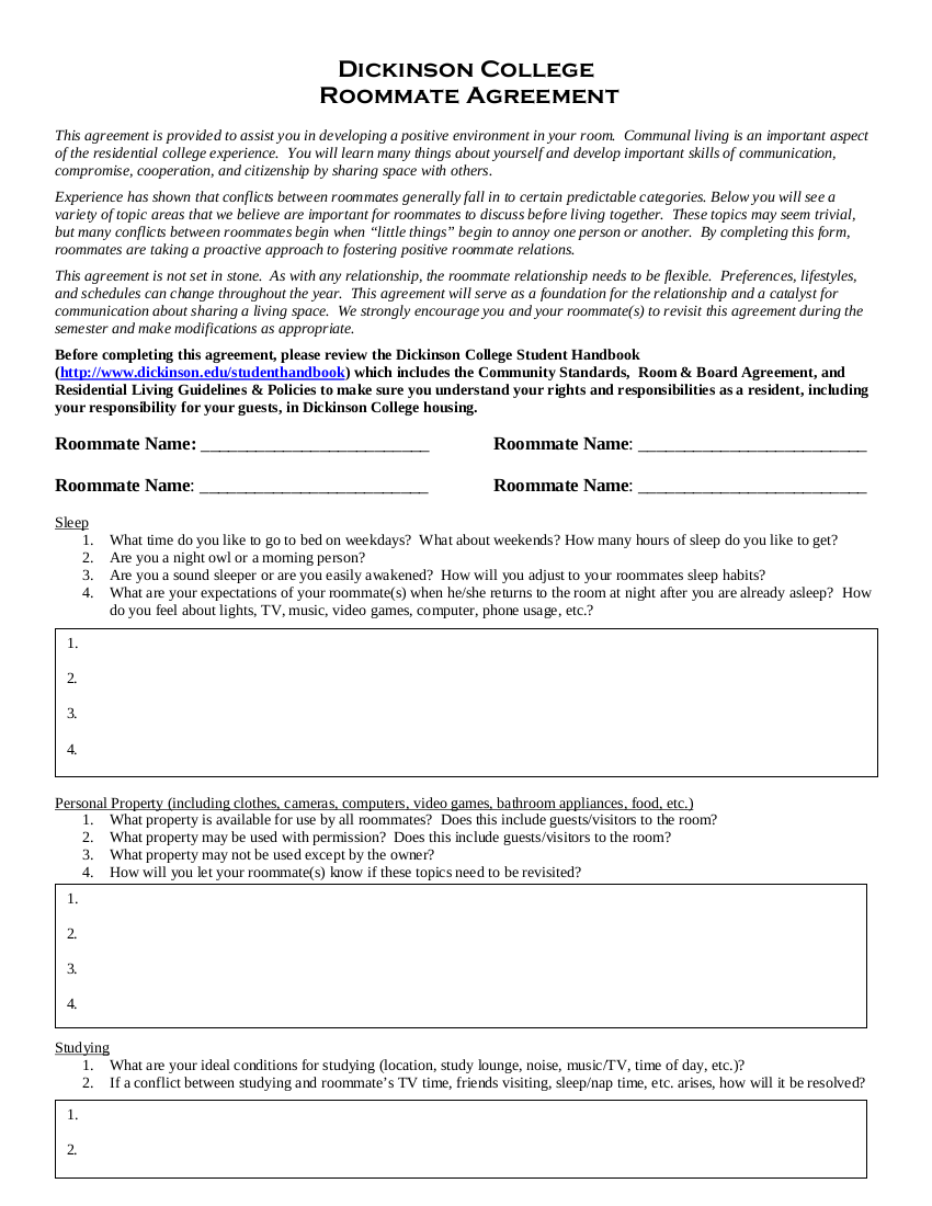college communal living roommate agreement example