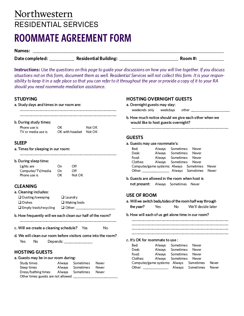 college roommate agreement form example