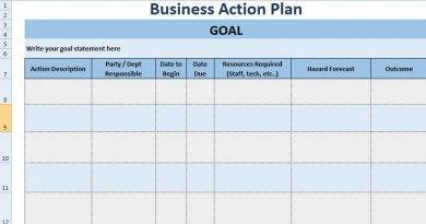 colored work action plan