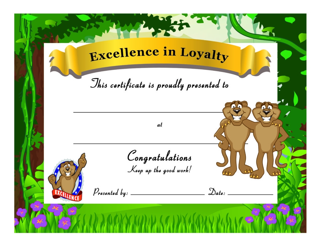 colorful loyalty award certificate example