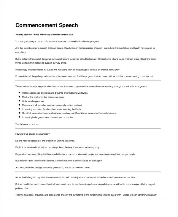 commencement speech format
