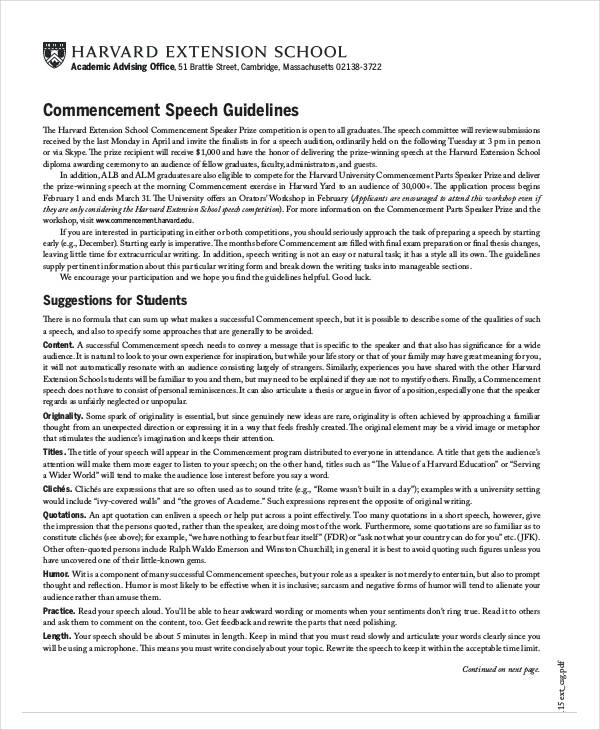 commencement speech guidelines