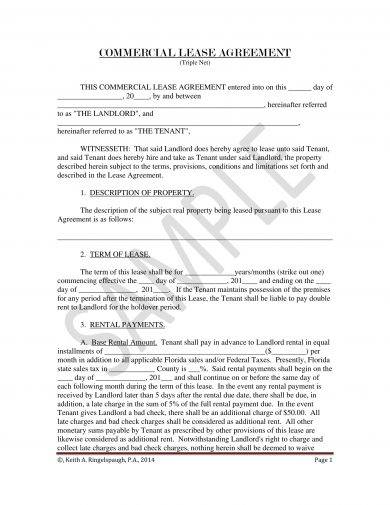 commercial lease agreement template example1