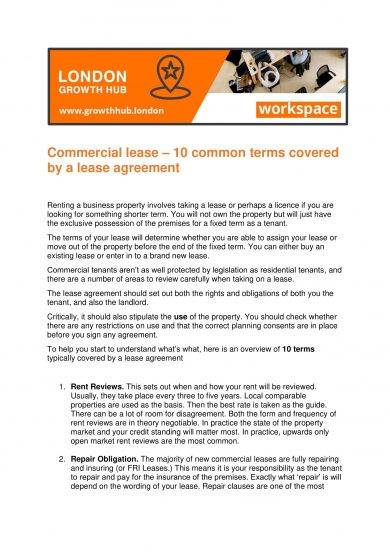 commercial lease agreement terms example1
