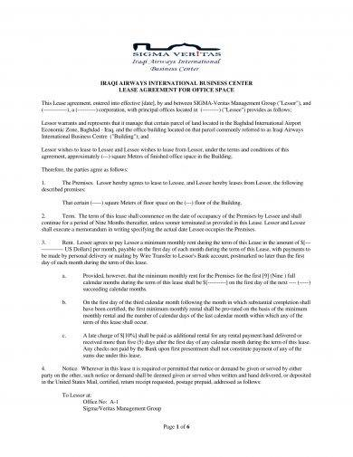 commercial lease agreement for office space