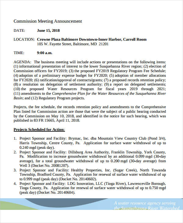 commission meeting announcement