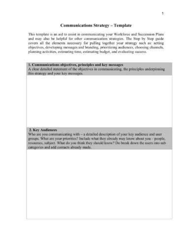 communications strategy template example