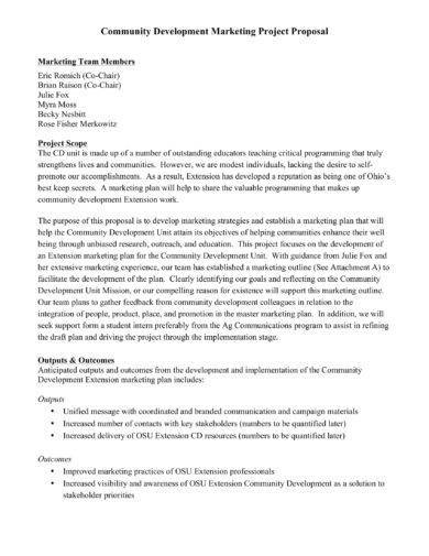 community development marketing project proposal example