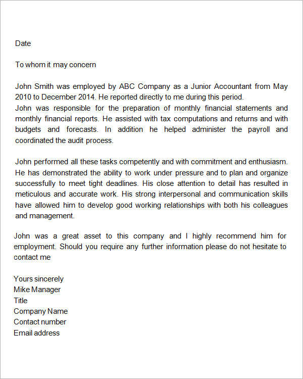 9 reference letter for employment examples pdf company reference letter for employment example altavistaventures Images