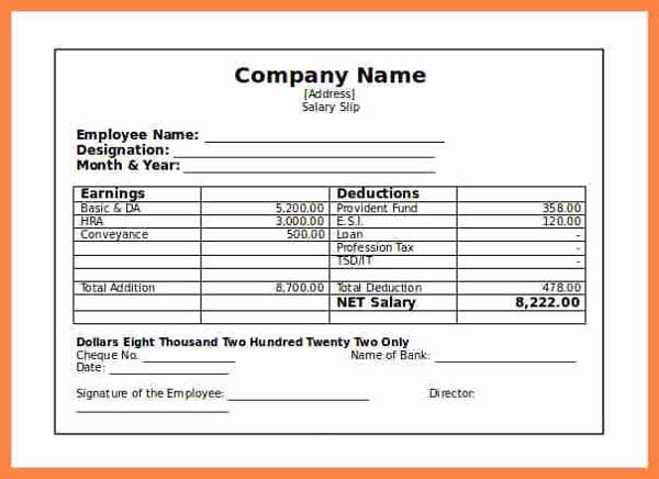 company salary slip template example1