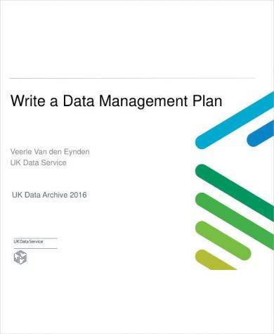 comprehensive data management plan example