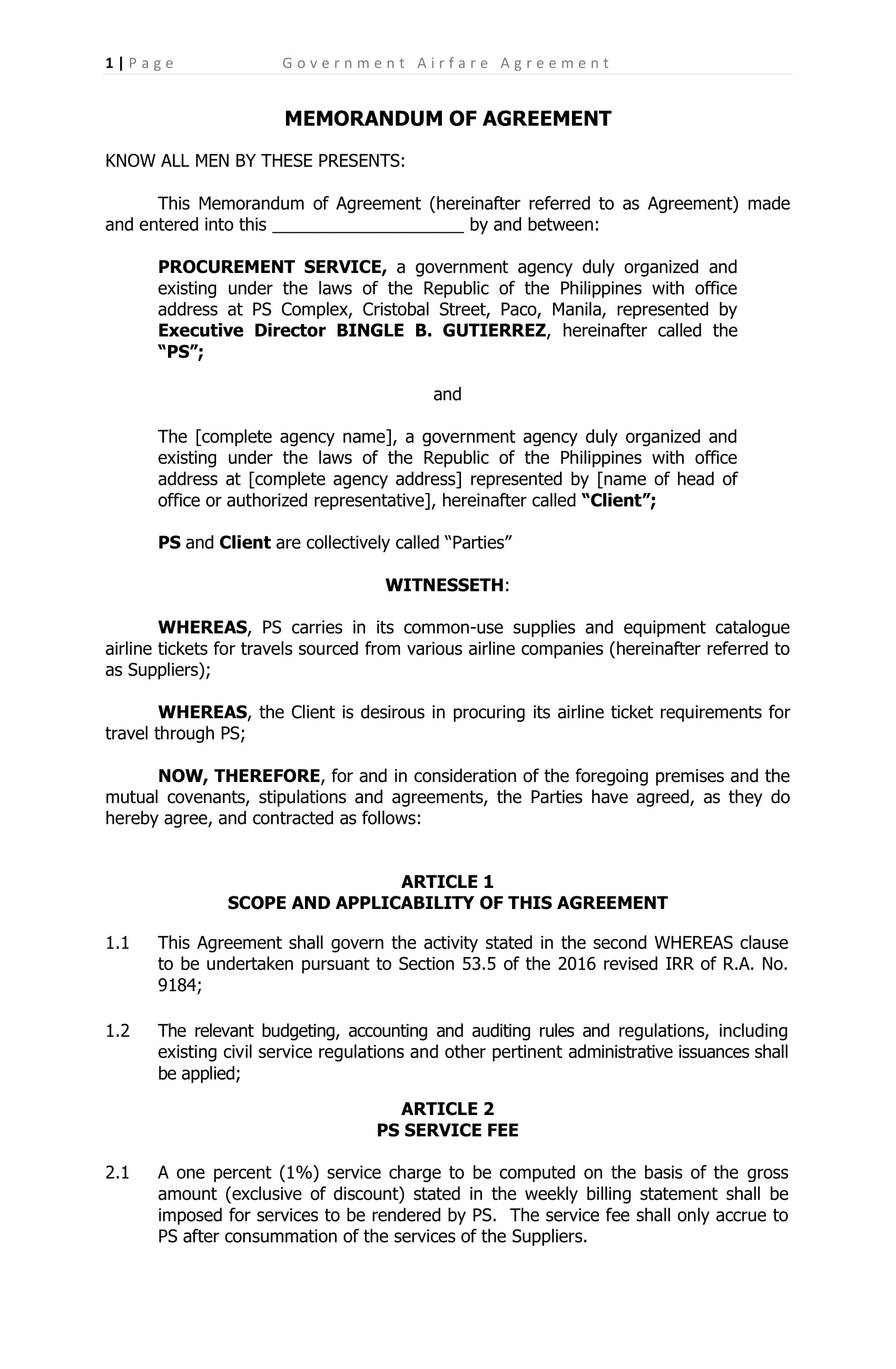 comprehensive memorandum of agreement example