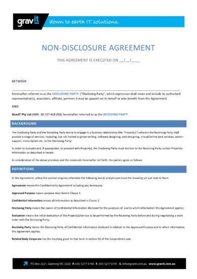 comprehensive non disclosure agreement example