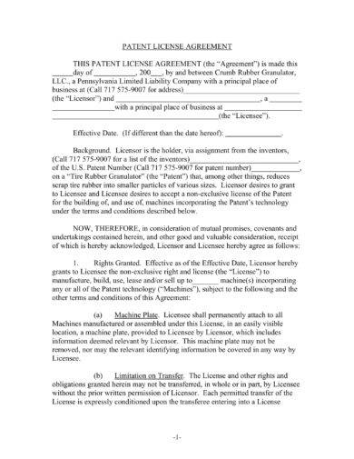 comprehensive patent license agreement example1
