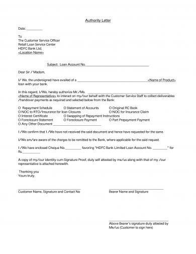 concise bank authorization letter example