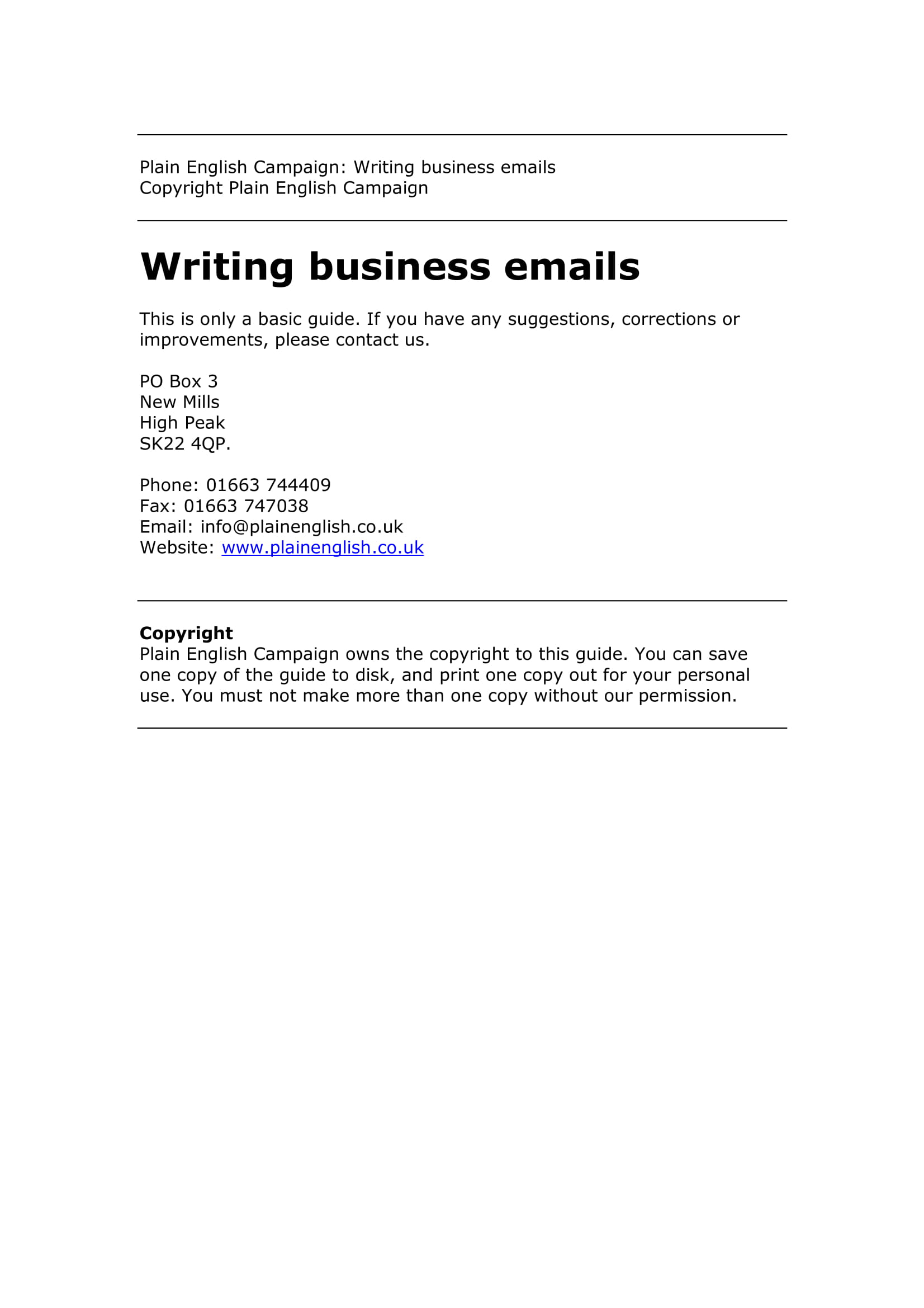 concise business email writing example