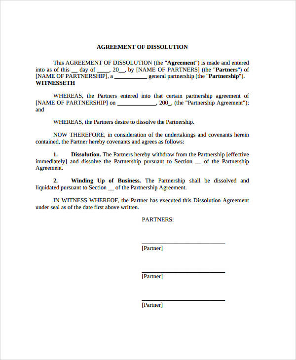 11 Dissolution Agreement Examples Pdf Word Examples