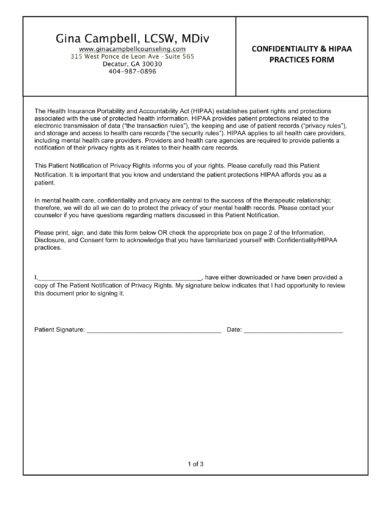 Confidentiality And HIPAA Practices Agreement Form Example