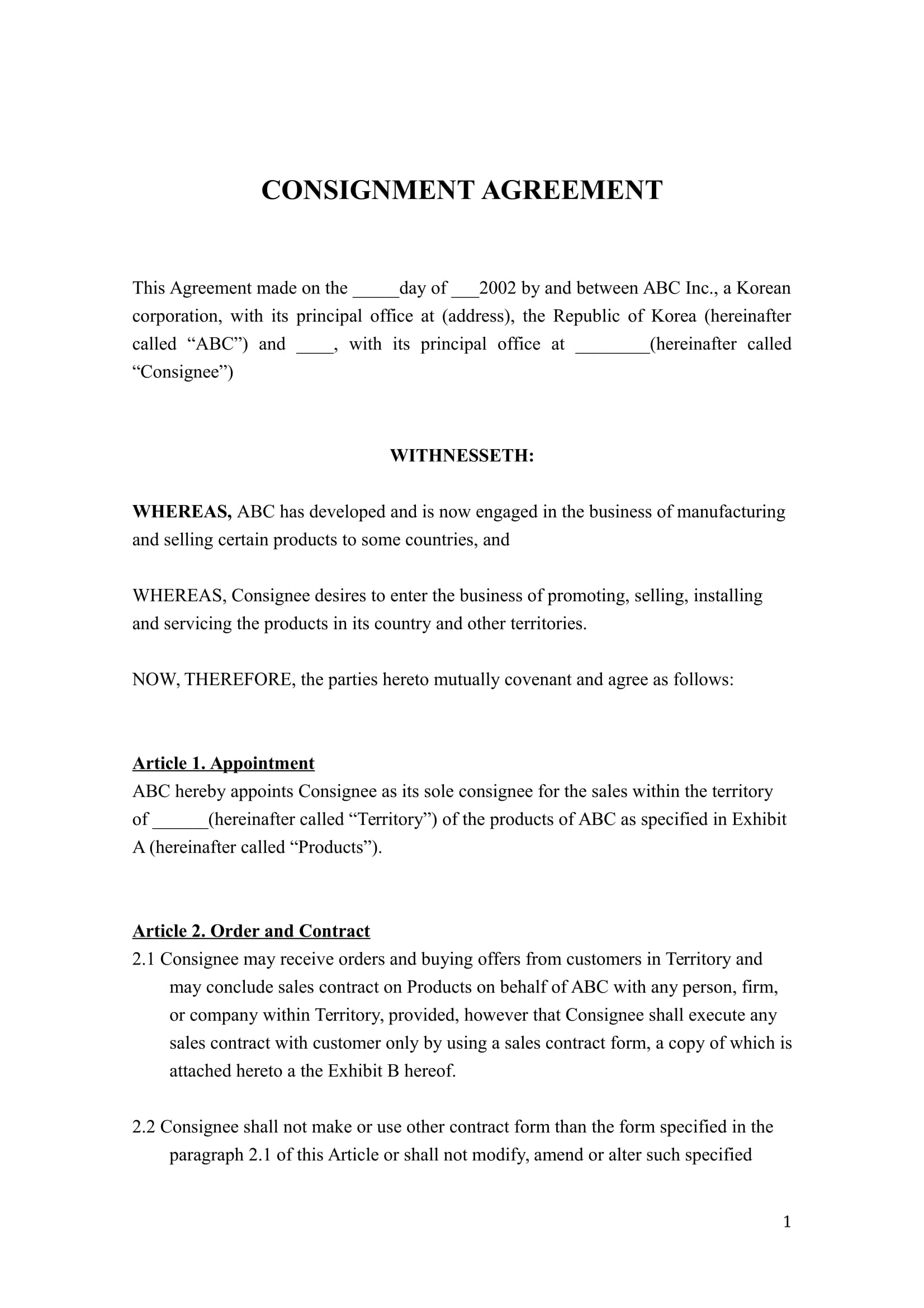 consignment agreement example