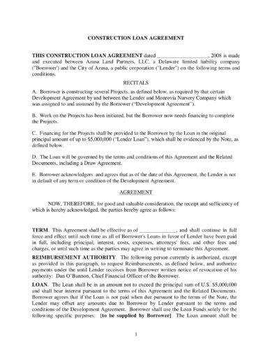 construction loan agreement example