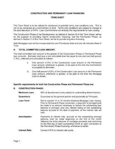 construction and permanent loan financing term sheet and agreement example