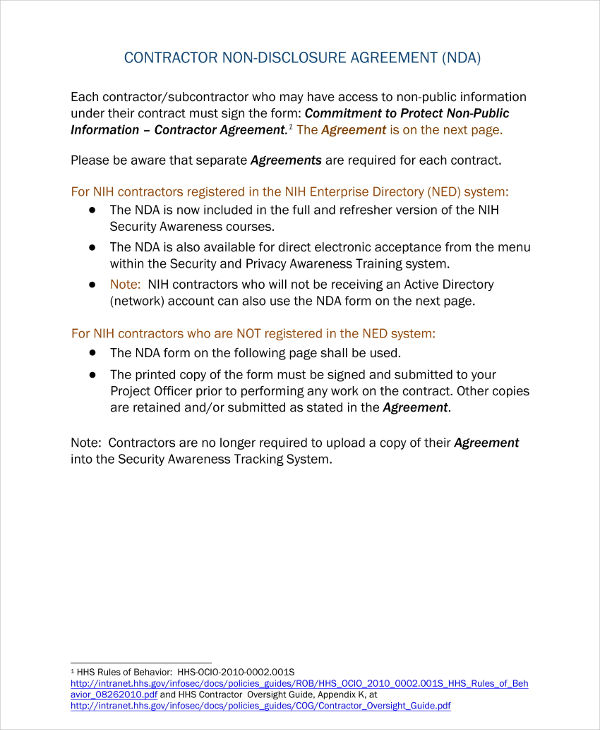 contractor non disclosure agreement example
