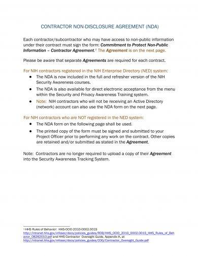 contractor non disclosure agreement example1