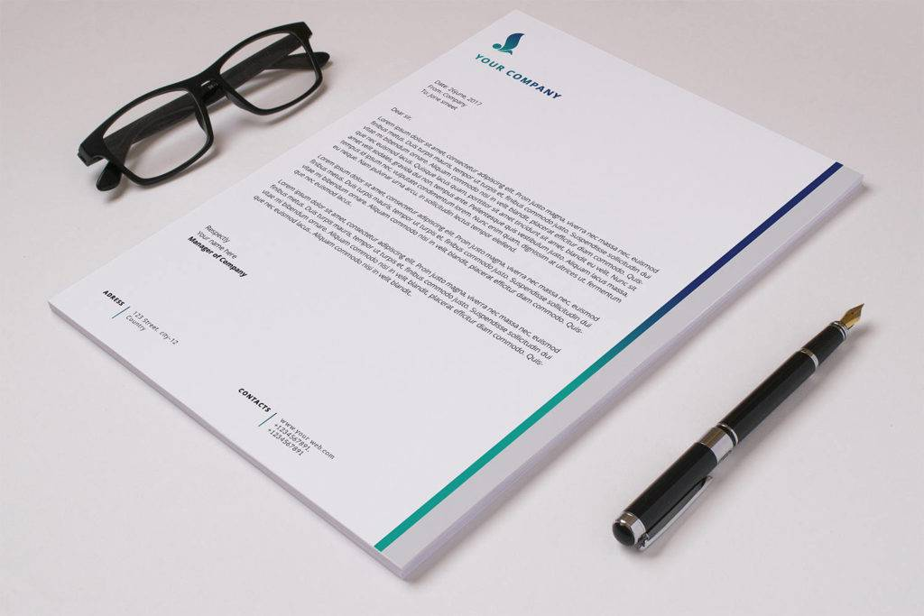 corporate letterhead template in photoshop and ms word