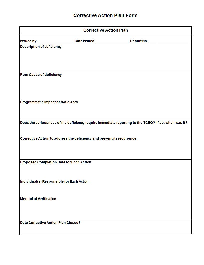 corrective action plan form example