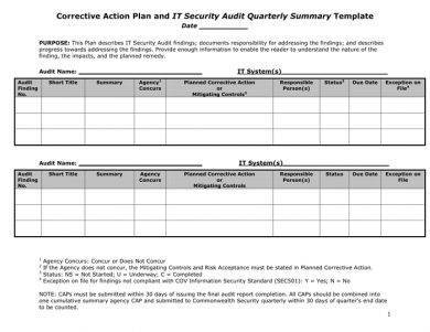 corrective action plan for it security example1