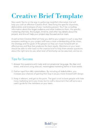 creative brief for project design template example