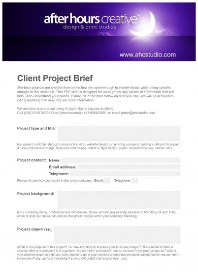 creative design client project brief example